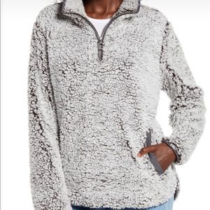 Designer Sherpa teddy pull over sweater